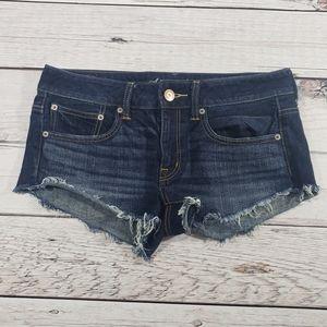 American eagle dark wash jean shorts size 6